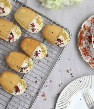 Rose Butter Madeleines Recipe with White Chocolate and Pistachio from Cove Cake Design