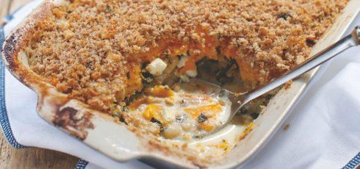 Pumpkin, Kale, Butter Bean and Feta Bake Recipe from Blazing Salads