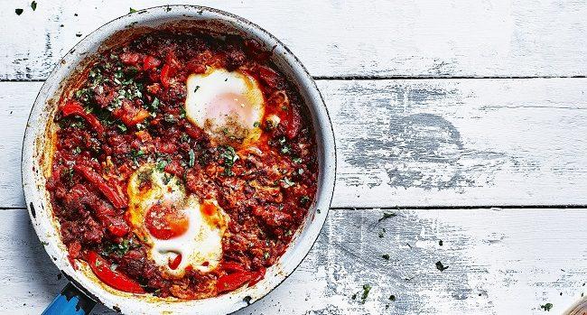 Spicy Merguez Eggs Recipe from the Orange Blossom & Honey Cookbook