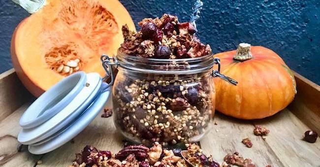 TheTaste Recipe The Food DNA Ultimate Buckwheat Pumpkin Spice Granola Boozy Cranberries
