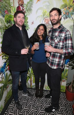 Rosa O Reilly,Anna Salas and Zoran Drljaen pictured at The Monkey Haus hosted by Alexander Stein Founder of Monkey 47 at The Wilde Merrion Square, Dublin. Pic Brian McEvoy