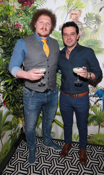 Lorenzo Di Pasquale and Tony Bilibau pictured at The Monkey Haus hosted by Alexander Stein Founder of Monkey 47 at The Wilde Merrion Square, Dublin. Pic Brian McEvoy