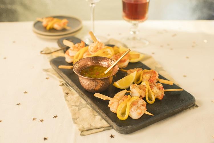 Siúcra & Catherine Fulvio's Mini Prawns Skewers Recipe with Lemon Chilli Dip 1