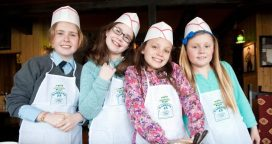 Taken on 11/4/2014 Jenny McCloskey, Ciara O'Sullivan, Aisling Shanley and Katie McGrath, all from Dungarvan enjoying the 'Be a Pizza Chef' event at Davitt's Restaurant, Dungarvan, County Waterford during the West Waterford Festival of Food Picture: David Clynch