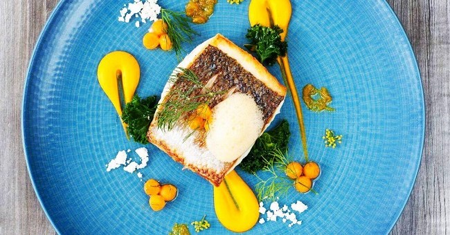 Grilled Flat Fish recipe of the day, Carrot Purre, Ginger Foam