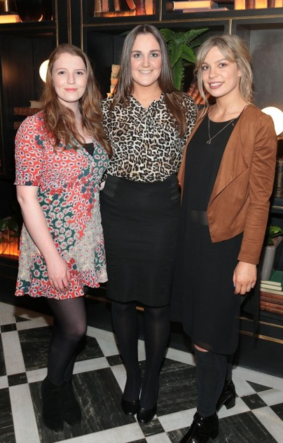 Leah Kilcullen ,Muireann Byrne and Ashlee Mahon at the official opening of the Iveagh Garden Hotel in Harcourt Street,Dublin. Pic Brian McEvoy No Repro fee