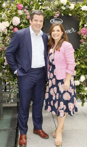 Hugh Long and Catherine Fulvio at the launch of Siúcra's new summer recipes by chef Catherine Fulvio held at the Woolen Mills Dublin.photo Kieran Harnett no repro fee