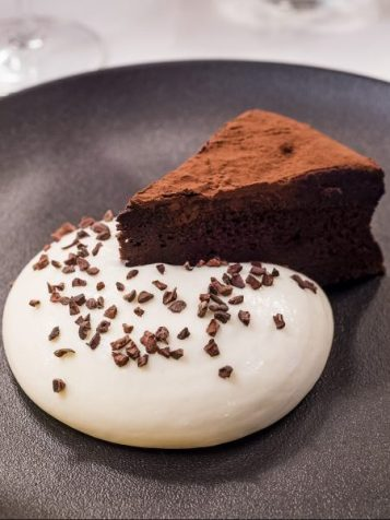 The Ivy Flourless cappuccino cake, milk mousse and coffee sauce