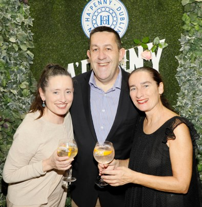 Jean Chambers, Stuart McNamara and Colette Chambers at the launch of the Ha'penny Spirits range, including Ha'penny Dublin Dry Gin, Ha'penny Rhubarb Gin and Ha'penny Whiskey, in the Gin Palace, Dublin.photo Kieran Harnett no repro fee