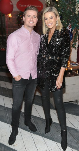 Brian Ormond and Pippa O Connor pictured at the Emirates Christmas Down Under party at House in Leeson Street,Dublin. Pic Brian McEvoy No Repro fee for one use