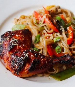 Sriracha & Honey Grilled Chicken Recipe with Gluten Free Noodles from Soulful & Healthy