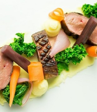 Magret Duck Recipe  Braised Salsify, Pickled Shallots Kale & Celeriac Mash by Chef Stuart Heeney From Clontarf Castle