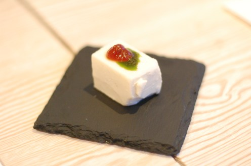 Cheese pannacotta with tomato jam and basil oil