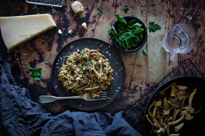Wild Mushroom Barley Risotto Recipe By Monika Coghlan