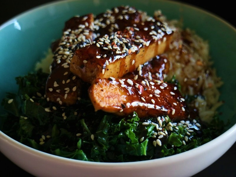 Sticky Korean Tofu & Stir Fry Kale Recipe By My Nutrition Ireland
