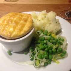 A hearty pie and mash after a day on the slopes