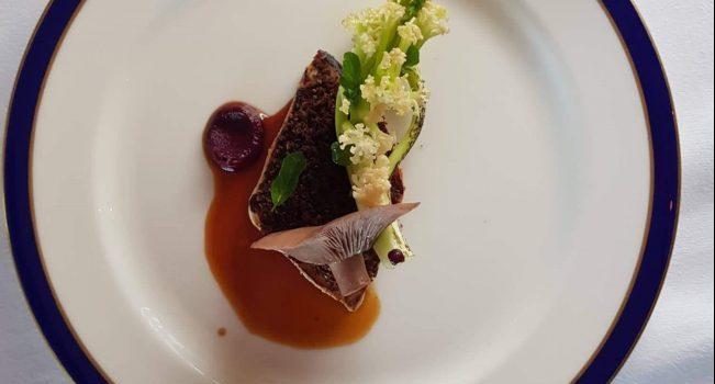 Pheasant, Wood Blewit Mushroom, Sloe, Sprouting Cauliflower, Woodruff By Chef Michael Safarik of The Pullman Restaurant at Glenlo Abbey