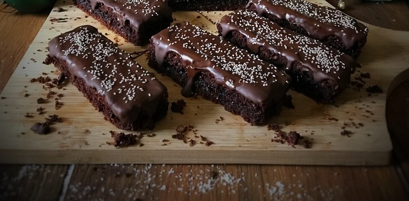 Chocolate Brownie Bars with Blueberry Chia Jam Recipe By Soulful and Healthy