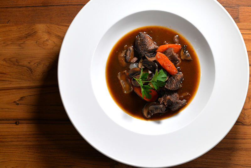 Beef Bourguignon plated