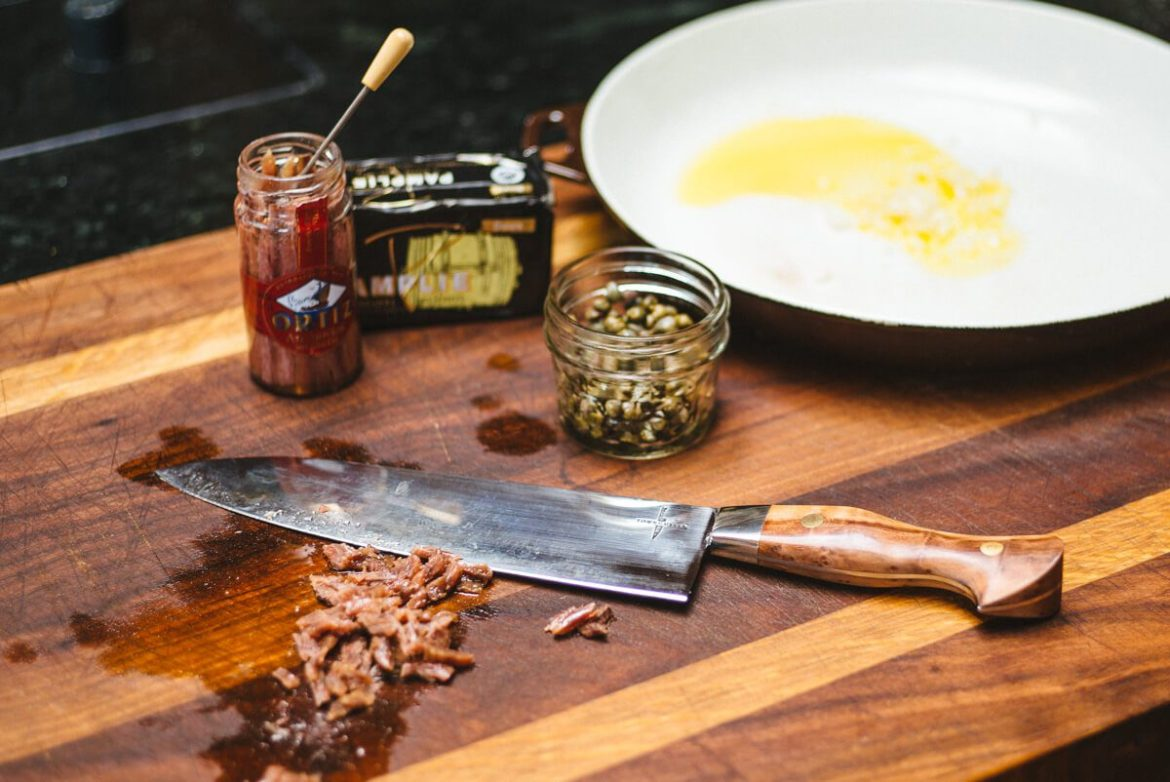 Using a Town Cutler Knife to make Spaghetti, anchovies, and capers recipe