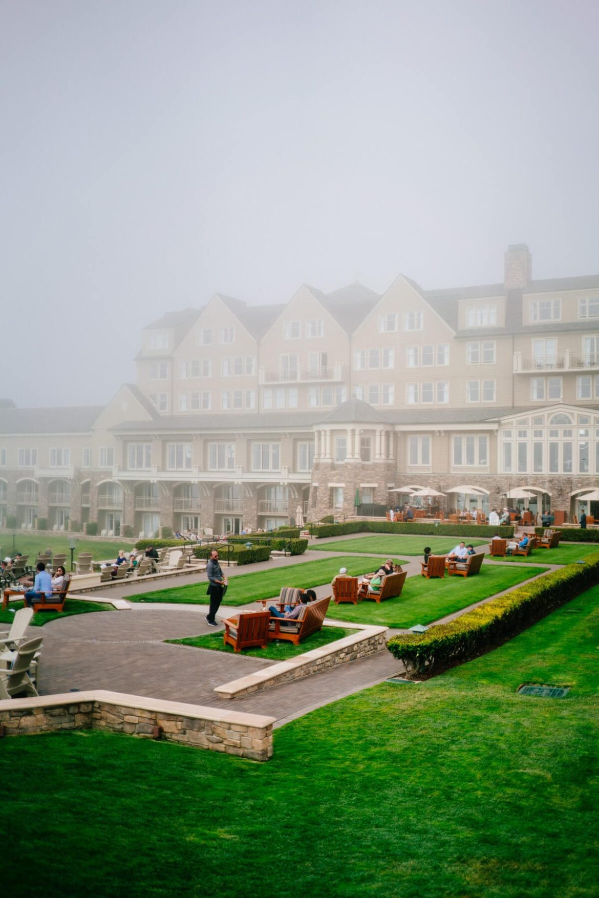 Garden and fire pits in the morning at The Ritz-Carlton Half Moon Bay