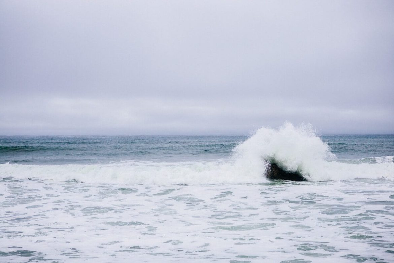The ocean wave breaking at The Ritz-Carlton Half Moon Bay