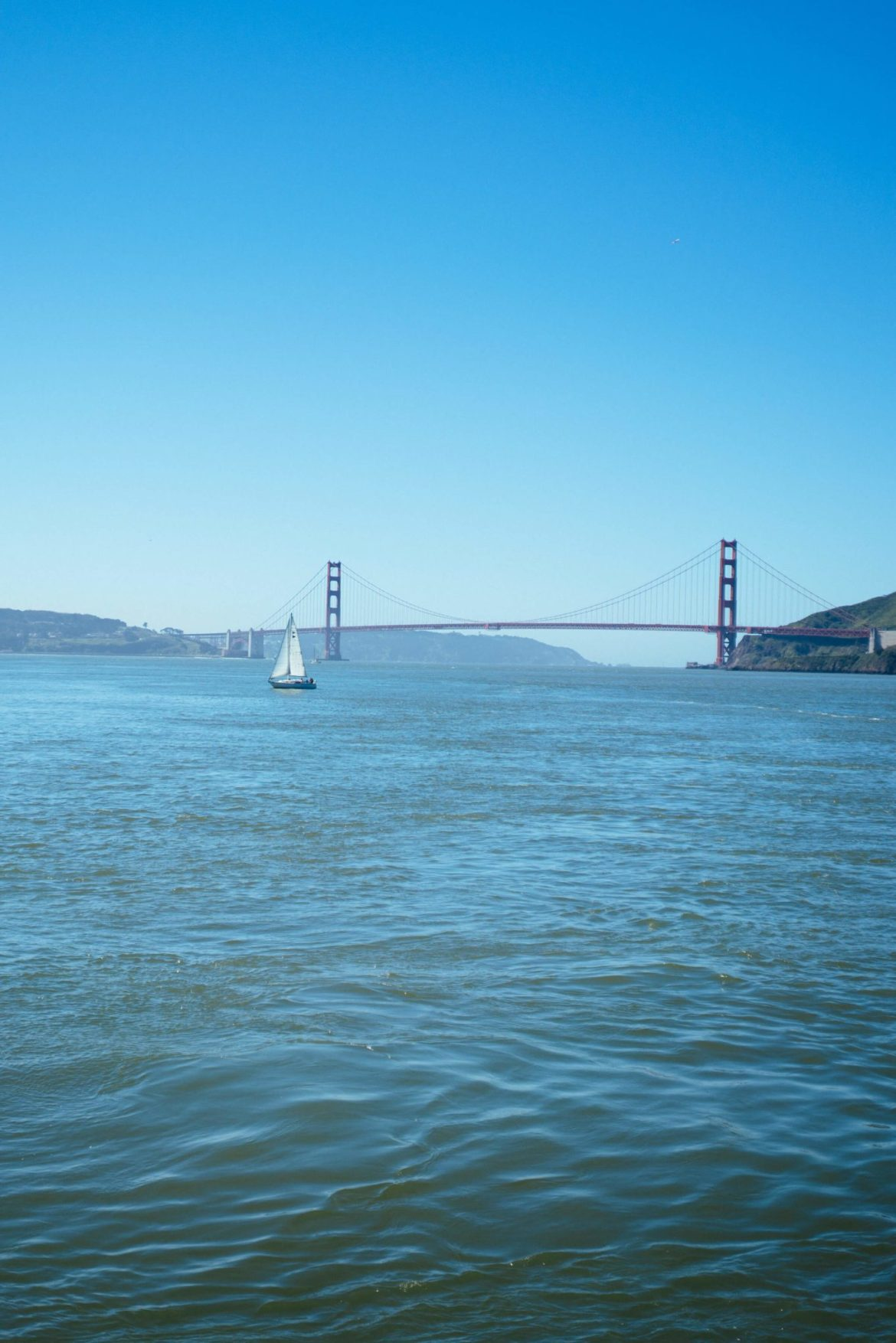 The golden gate bridge from the ferry to sausalito