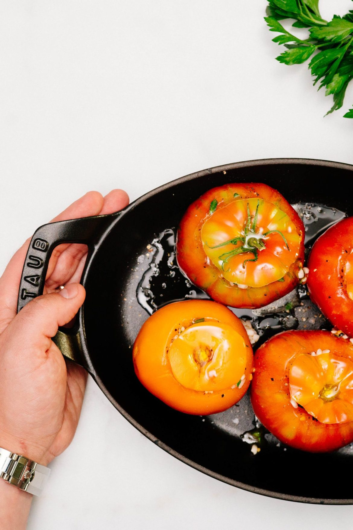 Drizzled with olive oil to make tomato confit risotto