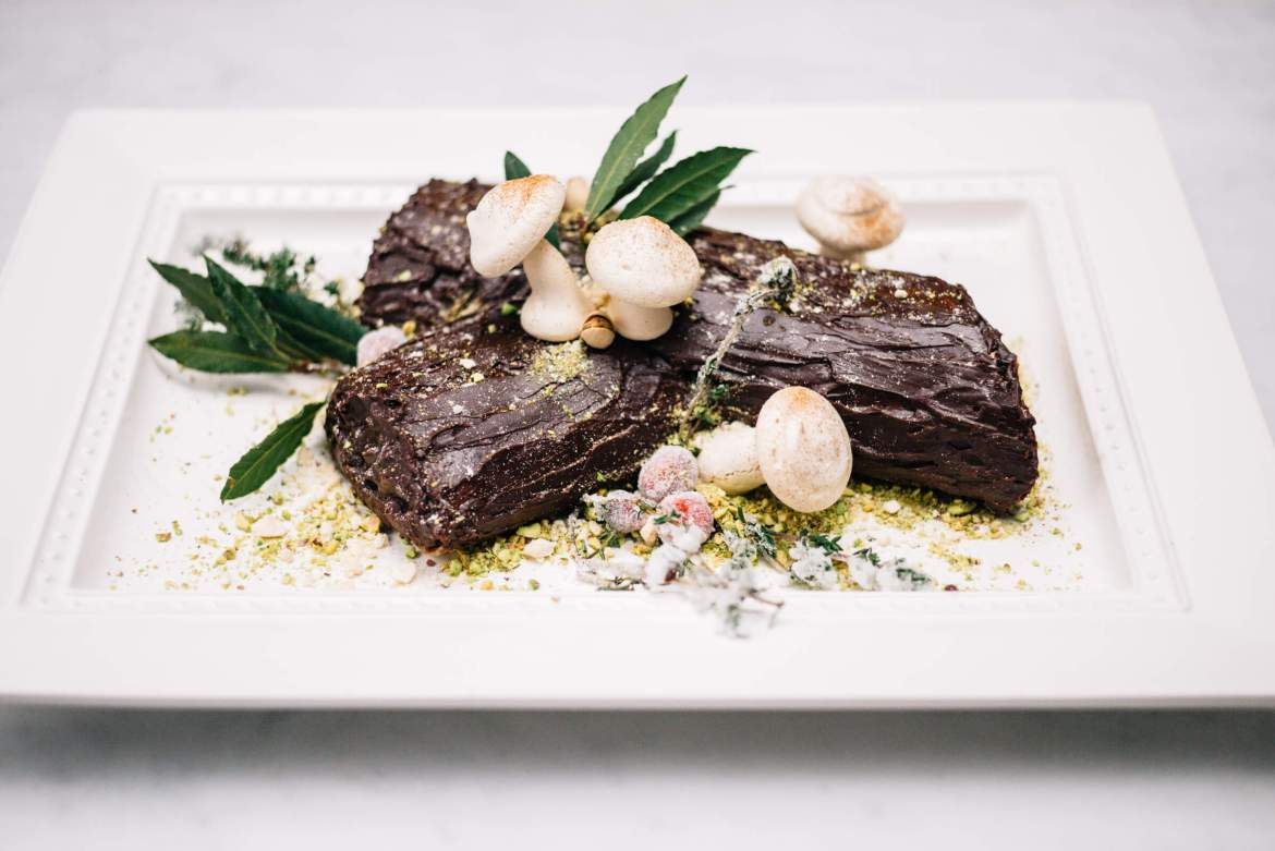 The Taste Edit makes a Bouche de Noel or Yule Log for Christmas with meringue mushrooms and sugared cranberries