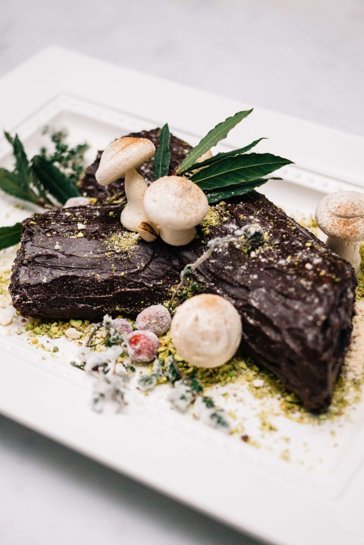 The Taste Edit makes a Bouche de Noel Christmas Yule Log uses pistachios for dirt and sugared cranberries to decorate