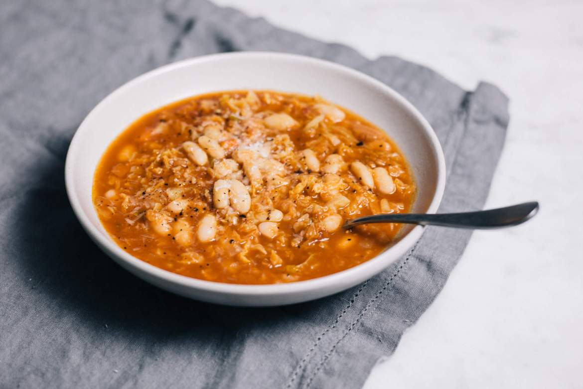 Vegetarian White bean and farrow soup with savoy cabbage recipe is made by The Taste Edit kitchen