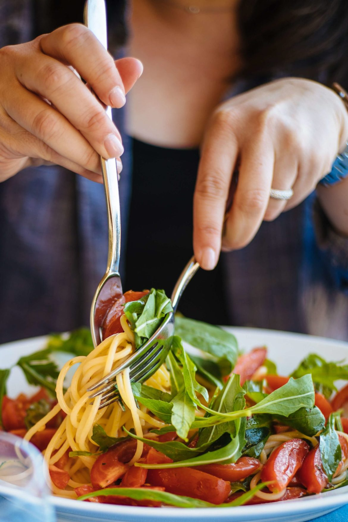 Ristorante La Fontelina Capri, Italy inspired this is a super simple pasta with cherry tomatoes and arugula is a perfect light lunch recipe, made by The Taste Edit.