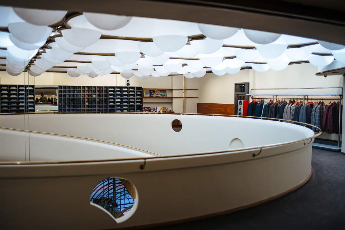 Historic lighting at the Isaia San Francisco Store, Neapolitan Isaia suits in the historic VC Morris Frank Lloyd Wright San Francisco, The Taste Edit