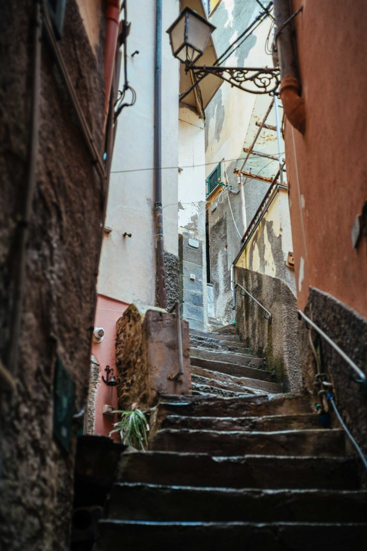Beautiful views from the staircases of Ramagore in Cinque Terre, one of the most popular vacation destinations in Italy.
