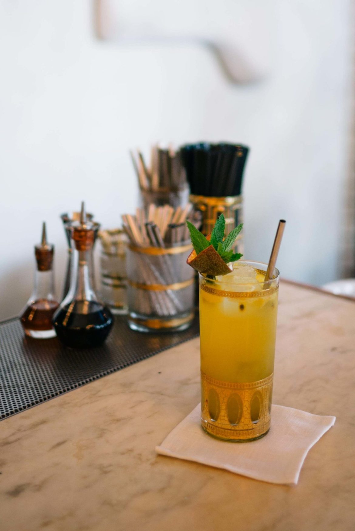 Order cocktails in Hollywood at the Bar at Gwenin Los Angeles, owned by Celebrity Chef Curtis Stone.
