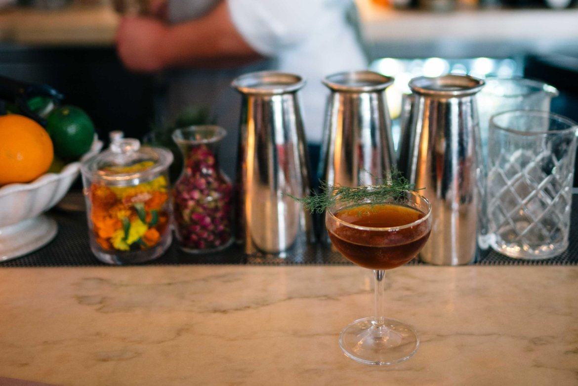 """For the best cocktails in Hollywood visit Chef Curtis Stone's Gwen in Los Angeles. Try the """"Manhattan Schooled"""" (barrel aged gin, vermouth, amaro, maraschino, fennel)."""