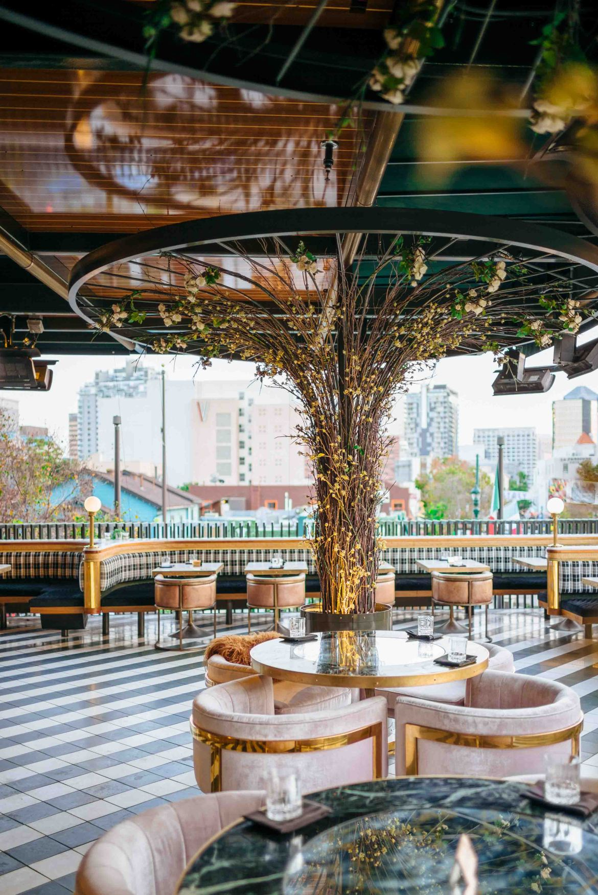 over-the-top steakhouse decor at Born and Raised in San Diego's Little Italy rooftop bar