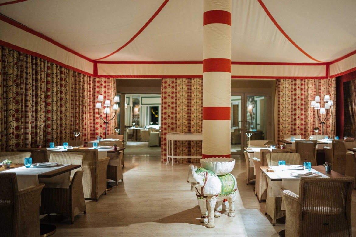 The Mezzatorre Hotel's fine dining restaurant, La Torre with custom whimsical designs like the ceramic elephant, by Maria-Louis Scio, Photo by The Taste Edit, Stanfield