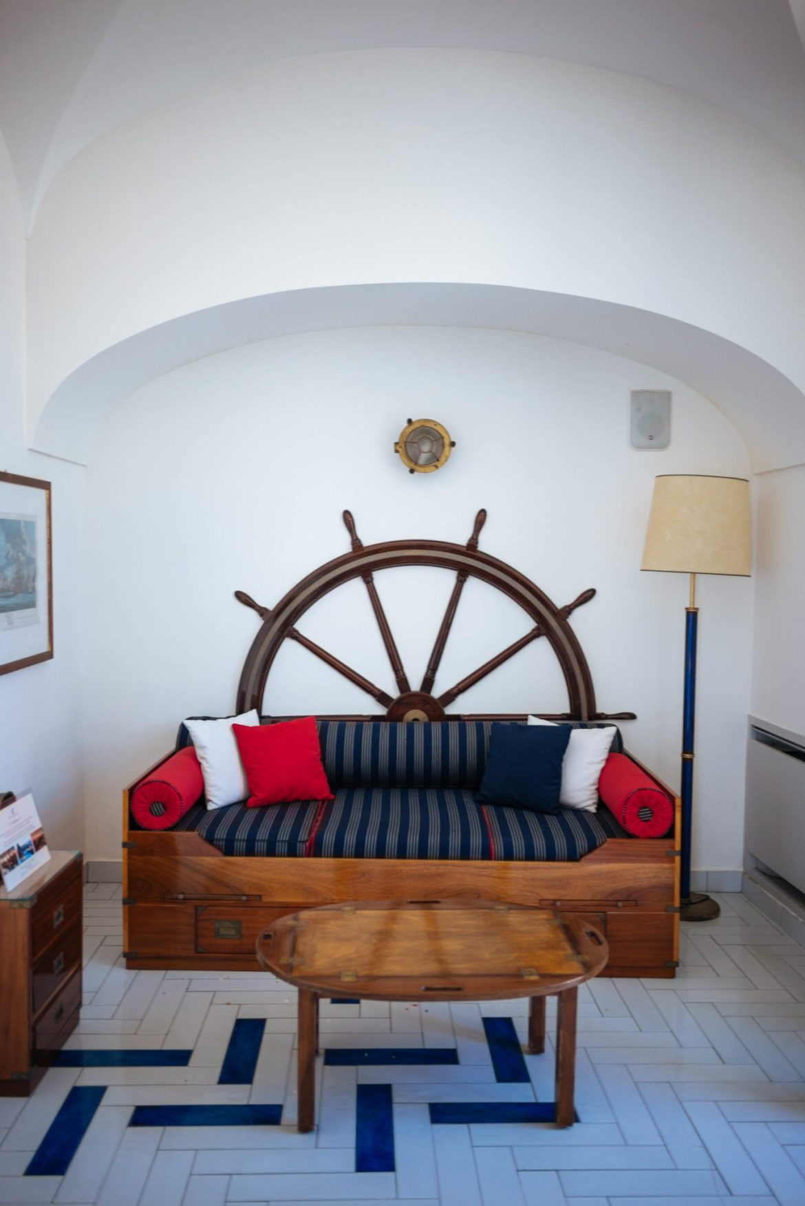 A nautical theme is throughout in San Montano Resort's cocktail bar   thetasteedit.com #italy #travel #hotel #spa