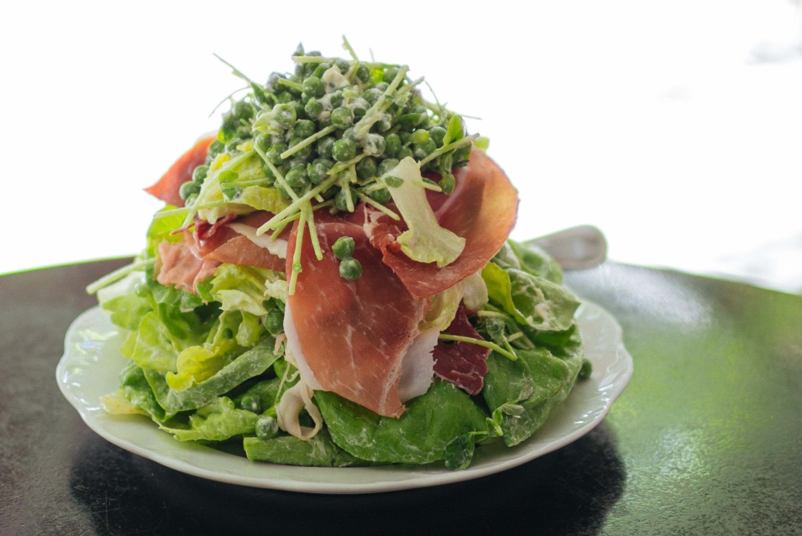 Make New York City's Via Carota's Piselli salad at home with whipped robiola cheese, peas, and prosciutto with The Taste Edit's easy pea salad recipe #recipe #salad #italian