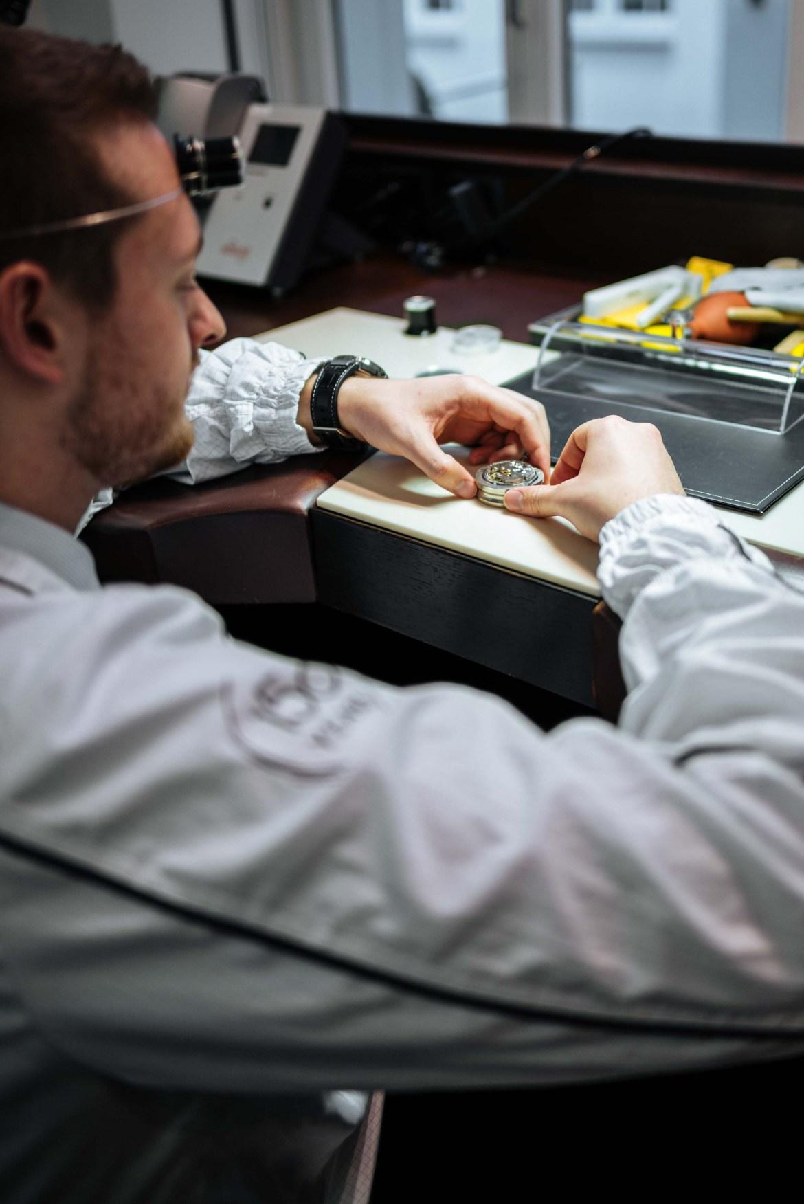 Watch maker shows The Taste how to make a watch at the IWC museum in schaffhausen Switzerland