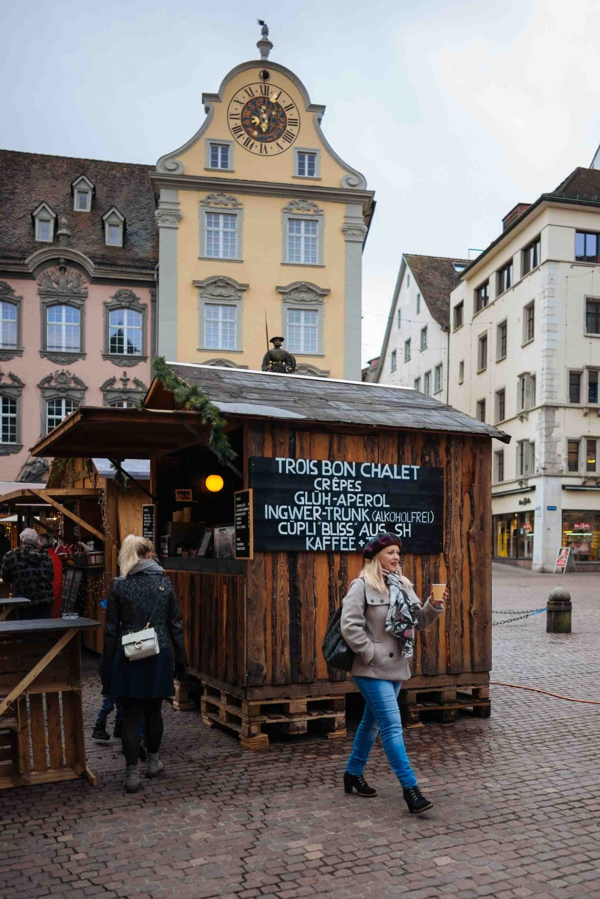 Visit Schaffhausen Switzerland at Christmas time for their Christmas market and a snack or a cup of hot mulled wine