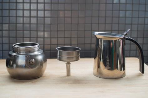 stove top espresso pot disassembled