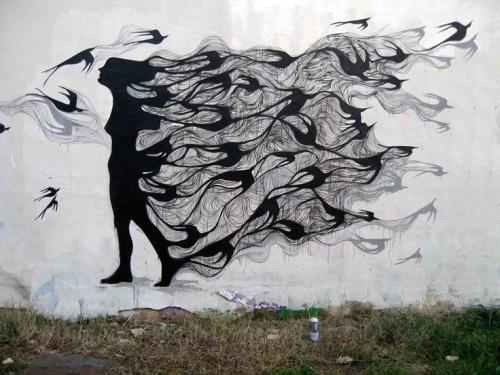Street Art Woman Birds