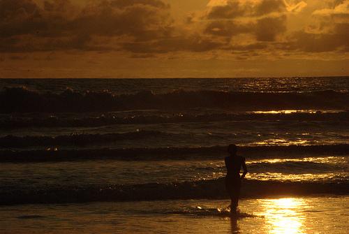 Woman sunset ocean