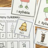 Christmas Literacy Centers- syllable sort