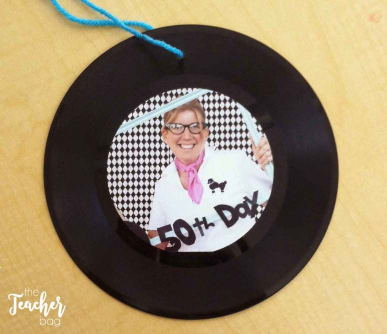 50th day of school- repurpose a record into an ornament