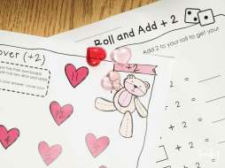 Valentine's Day Math- roll and cover