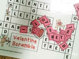 Valentine's Day Literacy Centers- word scramble