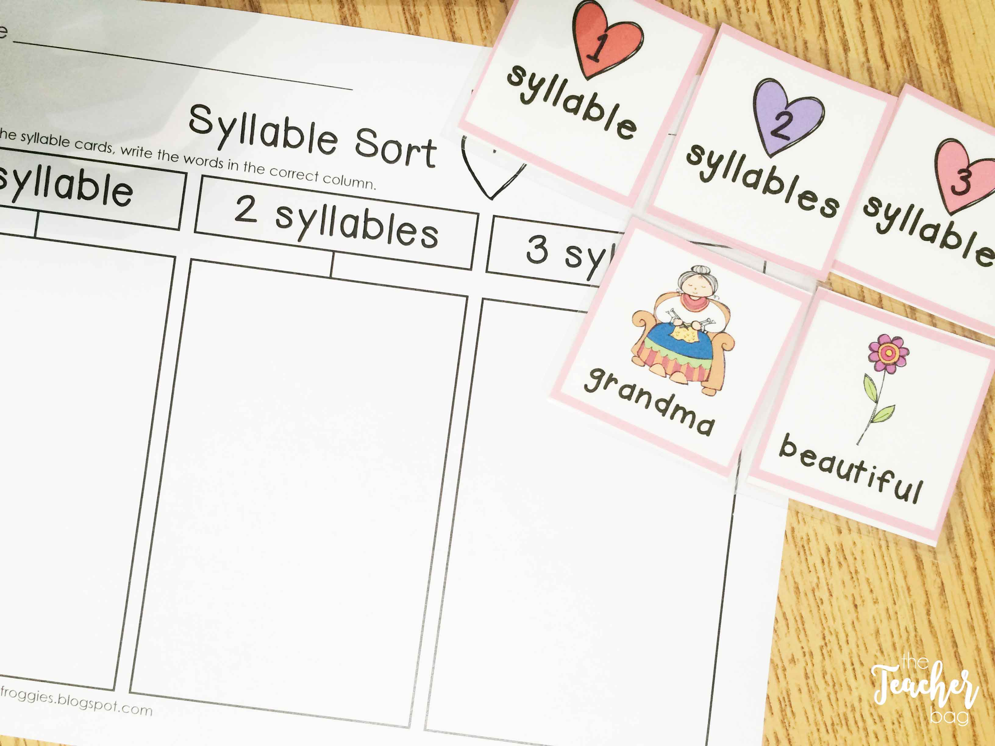 Valentine's Day Literacy Centers- syllable sort